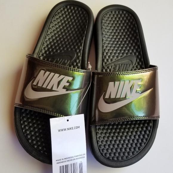 cb06a505ba1f NEW Nike Benassi Metallic Slides Green Black 9